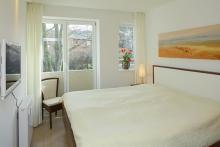 Appartement 10 - Blick in das Schlafzimmer
